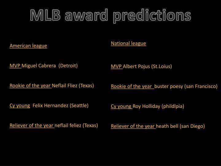 MLB award predictions