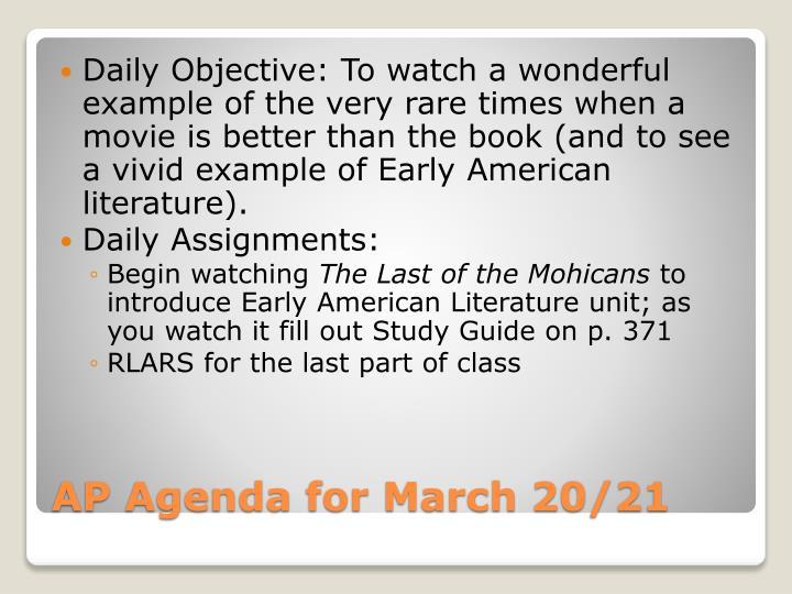 Ap agenda for march 20 21