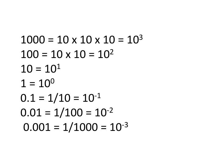 1000 = 10 x 10 x 10 = 10