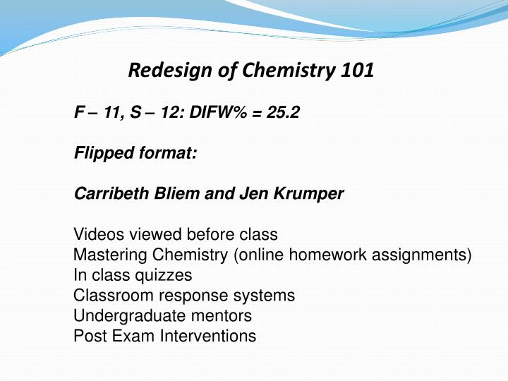 Redesign of Chemistry 101