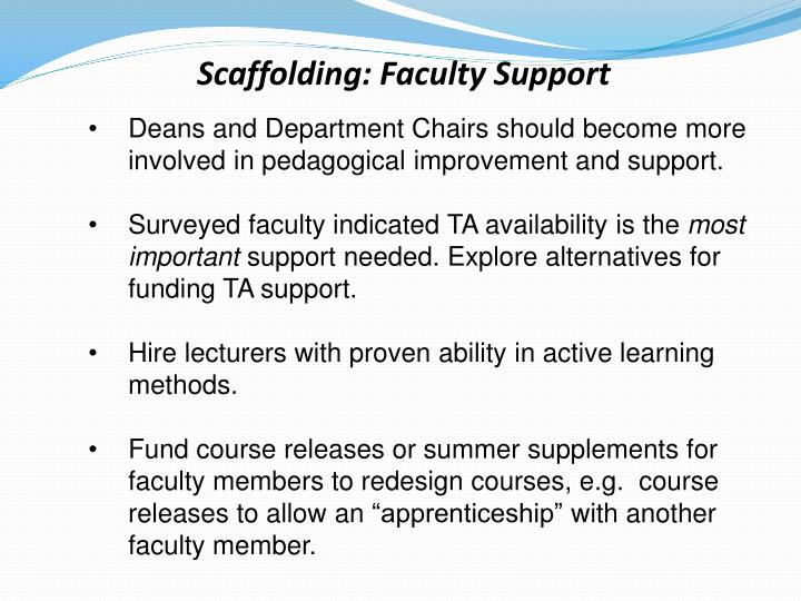 Scaffolding faculty support