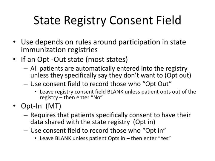 State Registry Consent Field