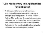 can you identify the appropriate patient data