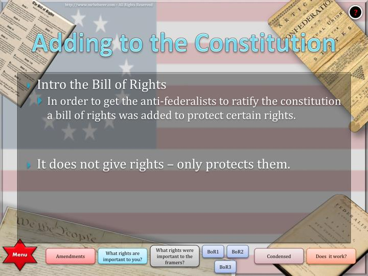Adding to the Constitution