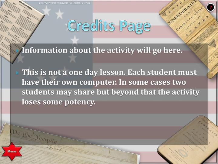 Credits Page
