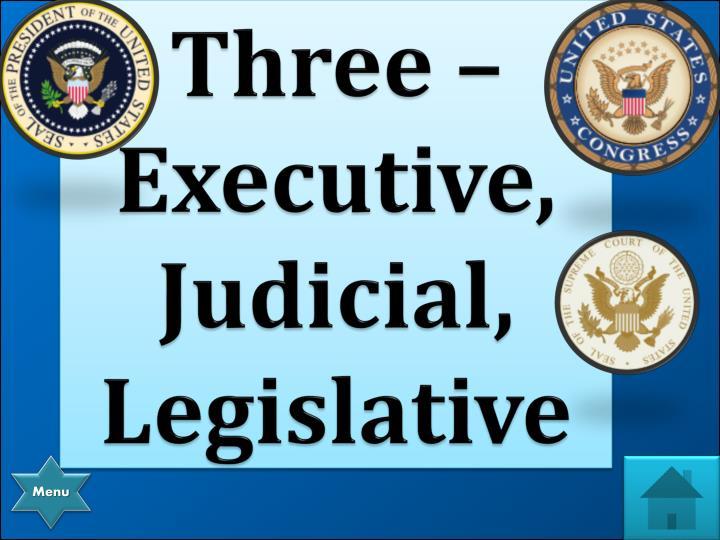 Three – Executive, Judicial, Legislative