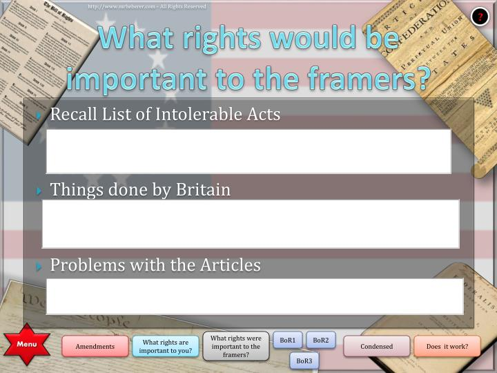 What rights would be important to the framers?