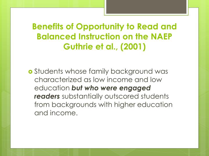 Benefits of Opportunity to Read and Balanced Instruction on the NAEP