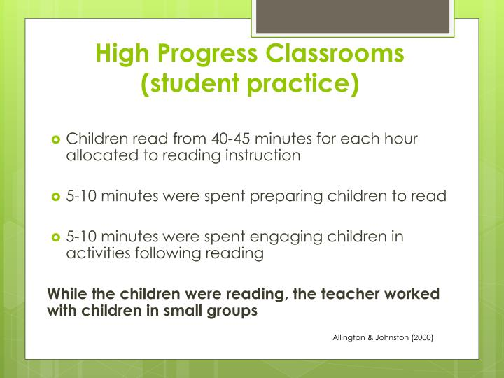 High Progress Classrooms