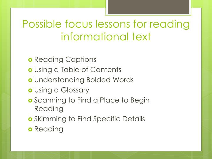 Possible focus lessons for reading informational text