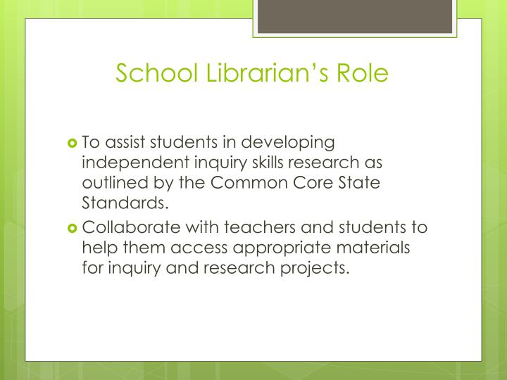 School Librarian's Role