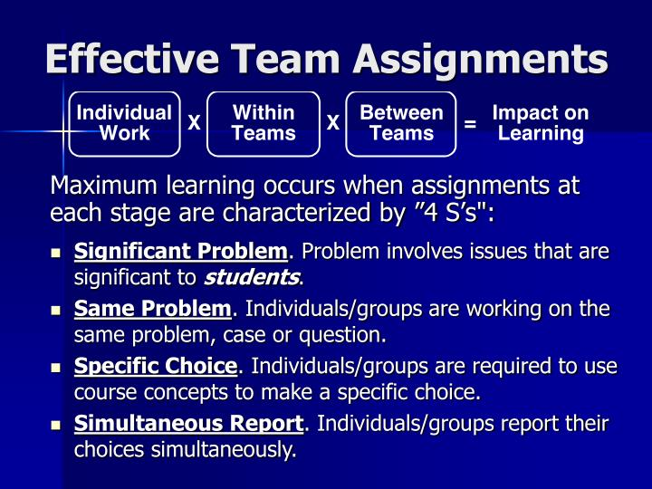 Effective Team Assignments