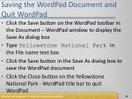 saving the wordpad document and quit wordpad