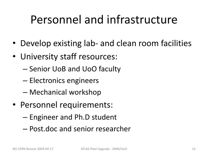 Personnel and infrastructure