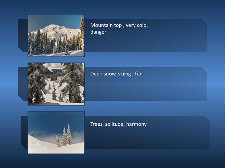 Mountain top , very cold, danger