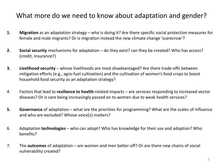 What more do we need to know about adaptation and gender?