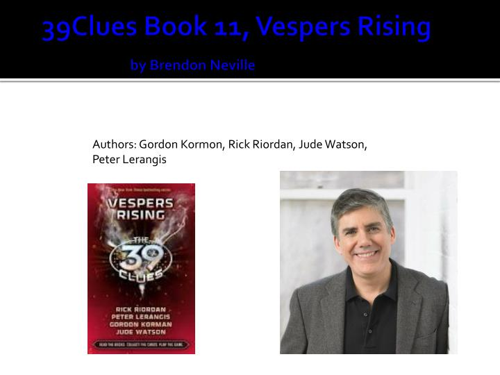 39clues book 11 vespers rising by brendon neville