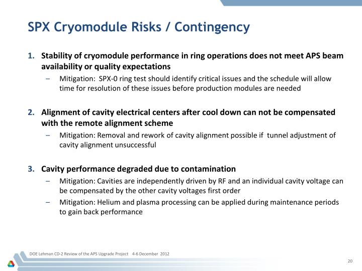 SPX Cryomodule Risks / Contingency