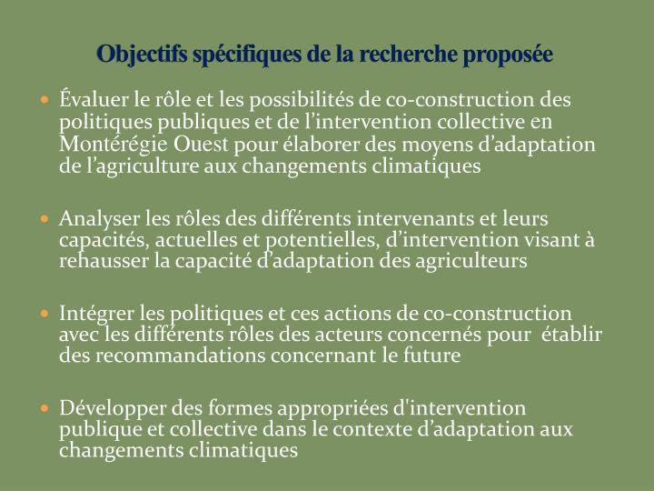 Objectifs spécifiques de la recherche proposée
