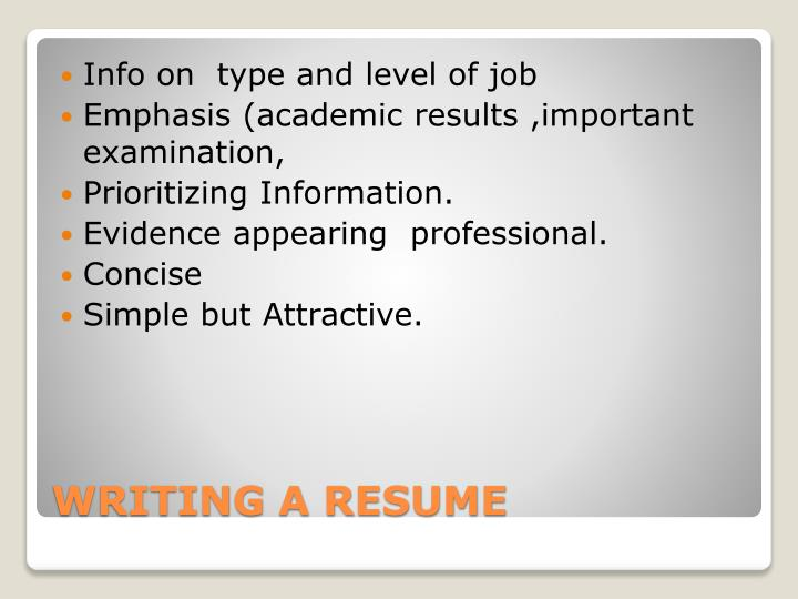 Info on  type and level of job