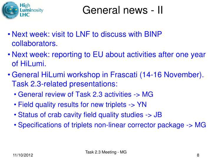 General news - II