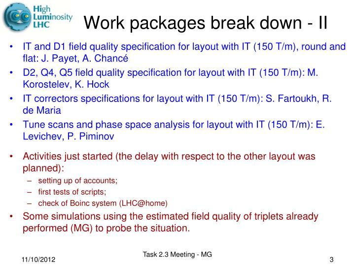 Work packages break down ii