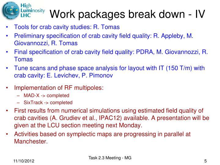 Work packages break down -