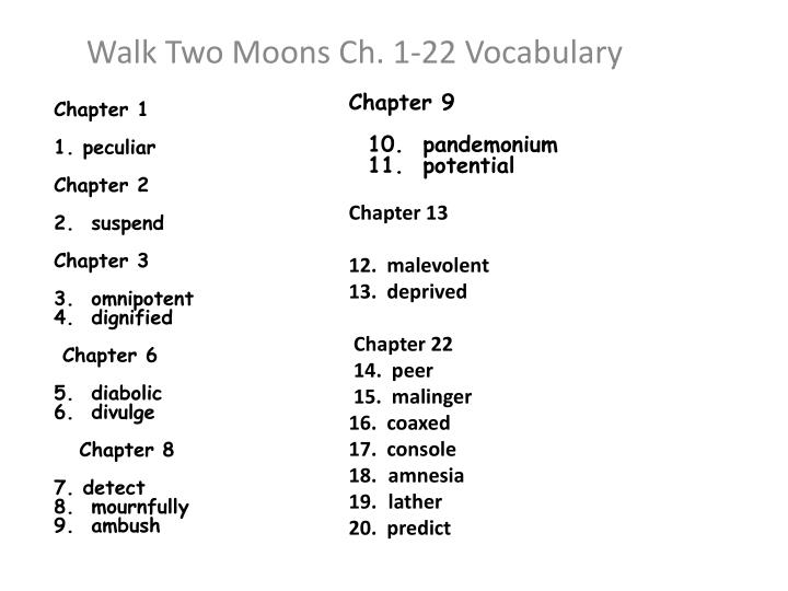 walk two moons ch 1 22 vocabulary