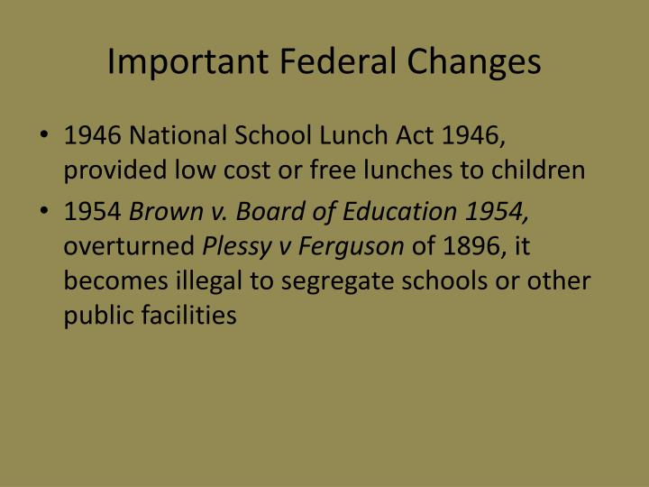 Important Federal Changes
