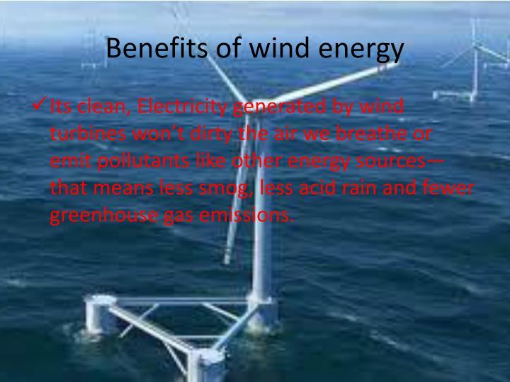 Benefits of wind energy