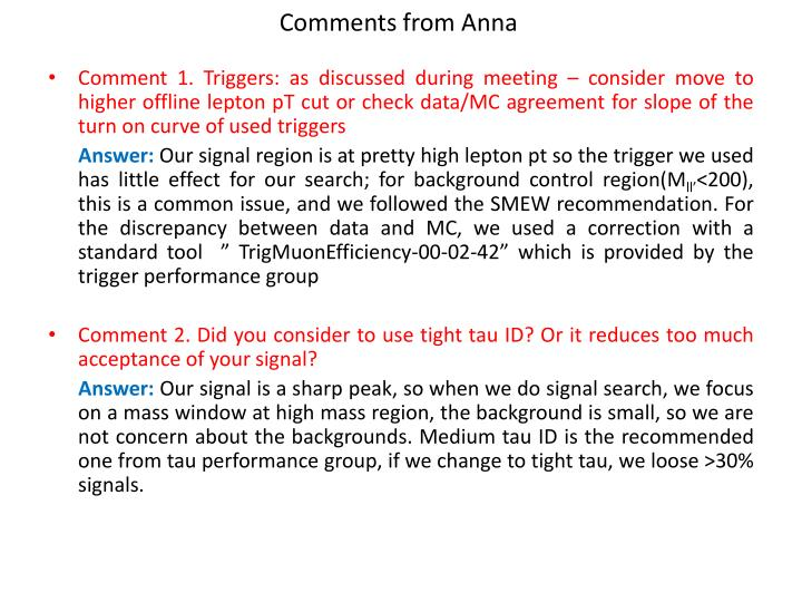 comments from anna n.