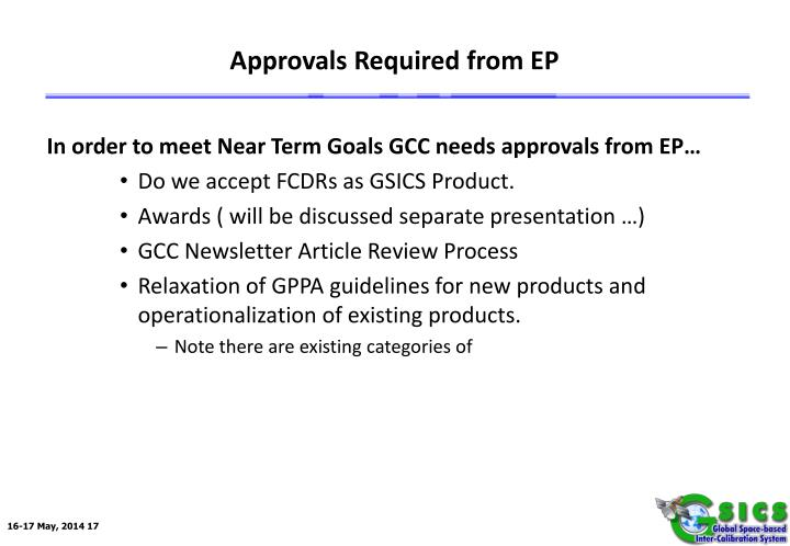 Approvals Required from EP