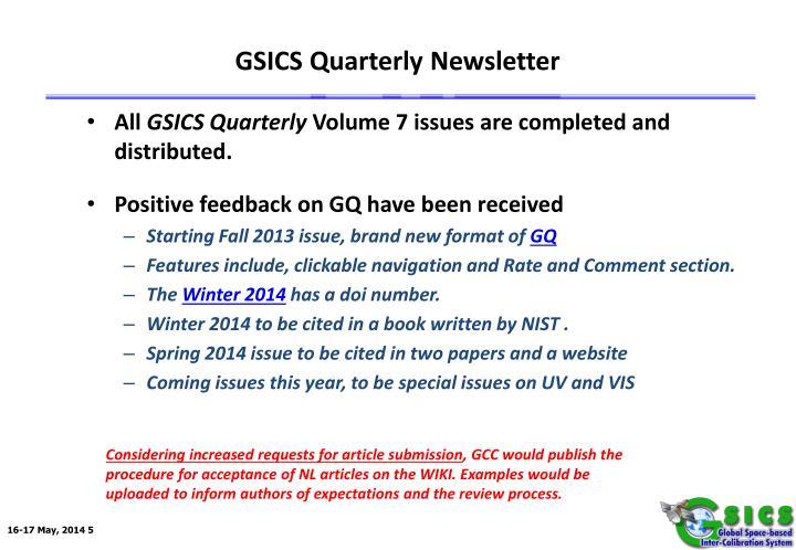 GSICS Quarterly Newsletter