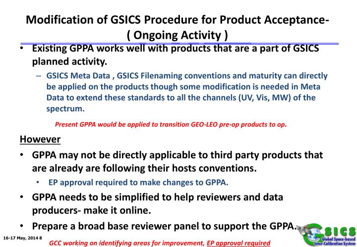 Modification of GSICS Procedure for Product Acceptance-