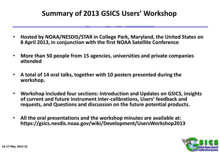 Summary of 2013 GSICS Users' Workshop