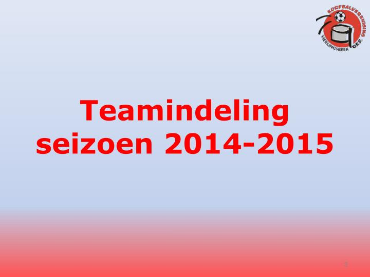 Teamindeling seizoen