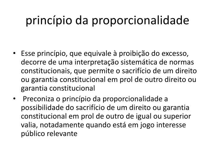 princípio da proporcionalidade
