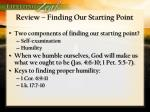 review finding our starting point