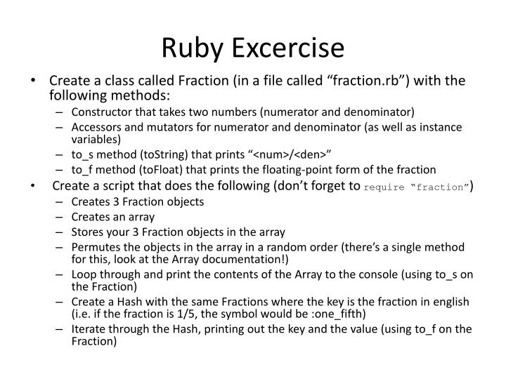 Ruby excercise