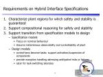 requirements on hybrid interface specifications