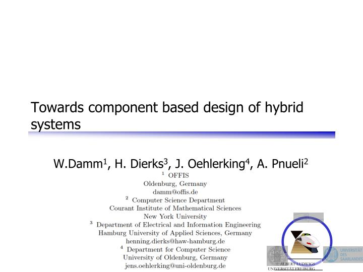 towards component based design of hybrid systems n.