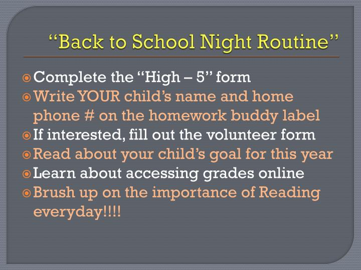back to school night routine n.