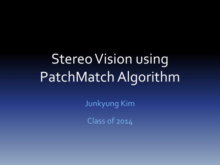 stereo vision using patchmatch algorithm n.