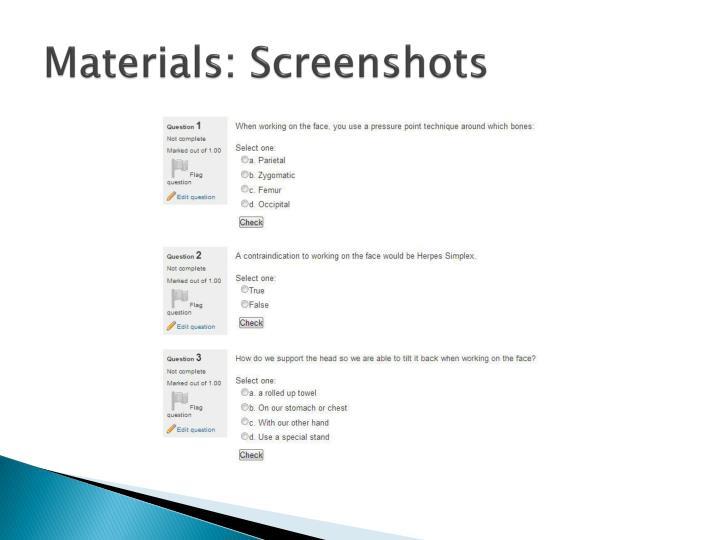 Materials: Screenshots