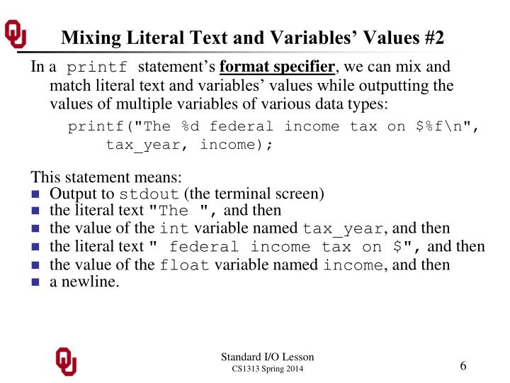 Mixing Literal Text and Variables' Values #2