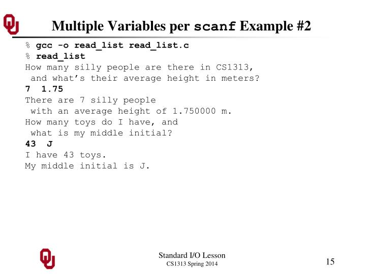 Multiple Variables per