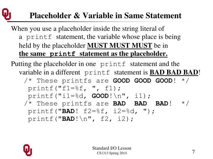 Placeholder & Variable in Same Statement