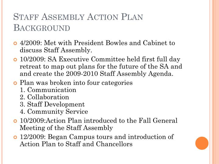 Staff assembly action plan background