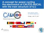 a concept for power cycling the electronics of calice ahcal with the train structure of ilc