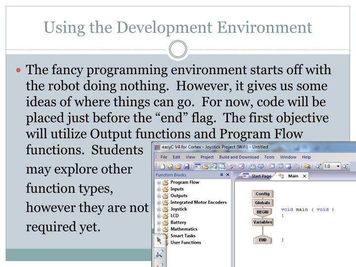 Using the development environment